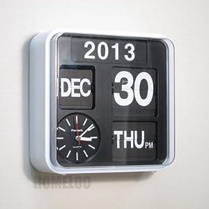 Fartech retro modern 9 5 calendar auto flip White flip clock
