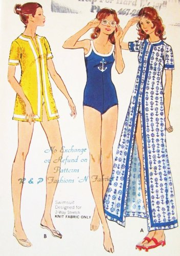 Butterick 6666 Misses' Swimsuit And Cover-Up Sewing Pattern Swimsuit Designed For 2-Way Stretch Fabric Only Vintage 1970S front-480218