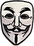 Parches - V For VENDETTA Anonymous - blanco - 6.5x8.5cm - termoadhesivos bordados aplique para ropa