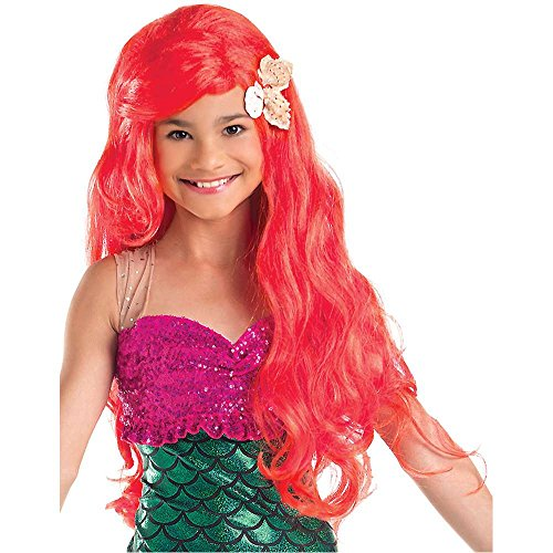 Kids Red Little Mermaid Wig with Sea Shells - One Size