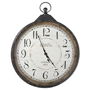 Extra Large Distressed Antique Style Black Pocket Watch Wall Clock Home