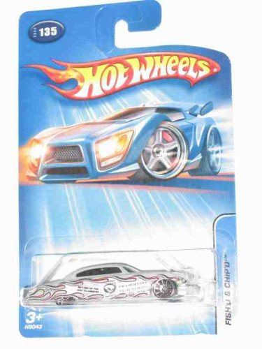 2005 - Mattel - Hot Wheels - #135 - Model H9043 - Fish'd & Chip'd Car - 1:64 Scale - Die Cast Metal - Gray Paint & Red Interior - Rarest Version - New - Collectible