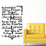 "Yanqiao 33.5x22.4""English Family Quote Letter Removable Mural PVC Wall Stickers Wall Decal for Living Room Home Decor"