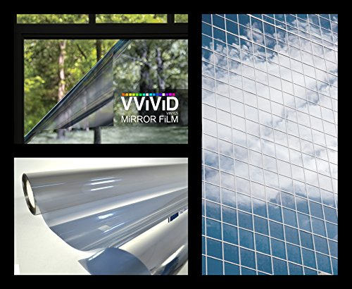 One-Way Silver Mirror Finish Static Cling Vinyl Window Wrap Film DIY Roll Various Sizes (17.75