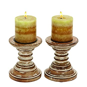Deco 79 Candle Stands Wood Candle Holder Pair, 6 by 5-Inch