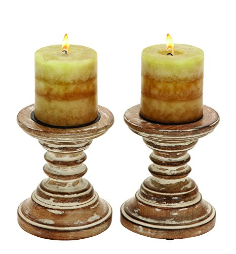 Deco 79 Candle Stands Wood Candle Holder Pair, 6 by 5-Inch 0
