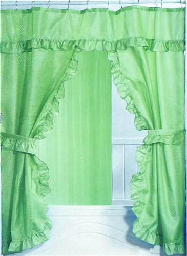 Ruffled Double Swag Fabric Shower Curtain With Matching Covered Rings Apple Green