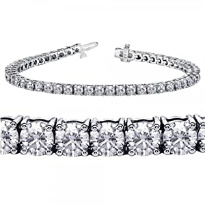 5.00 CT TW 4 Prong Round Diamond Tennis Bracelet in 14k White Gold (G-color/SI1-clarity)