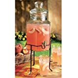Home Essentials and Beyond Hexagonal Glass Drink Dispenser and Stand