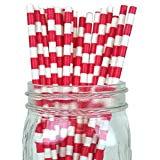 Funcart Red Rugby Stripe Party Paper Straws (pack Of 25)