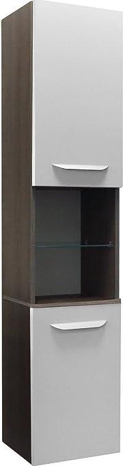 Fackelmann LAVELLA armadio alto, a sinistra, Rovere Cognac/bianco lucido/mobili da bagno