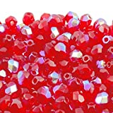 4mm Czech Faceted Round Glass Bead Light Siam AB 50pk