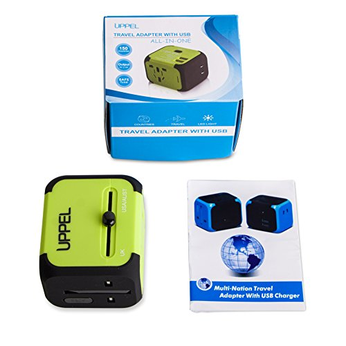 Travel Adapter Uppel Dual USB All-in-one Worldwide Travel Chargers on