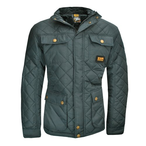 Mens Smith and Jones Jacket Enzio Quilted Padded Diamond Military Winter Grey L