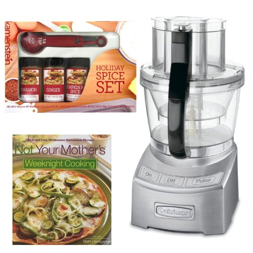 Cuisinart FP-12DC Elite Collection 12-cup Food Processor Die Cast + Kamenstein Mini Measuring Spoons Spice Set + Cook Book