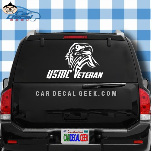 USMC Marines Veteran Eagle Car & Truck Window Decal Sticker, Laptop Decal Sticker, Macbook Decal Sticker, Wall Decal Sticker, 8-Inch - Silver (Rear Window Graphics Usmc compare prices)