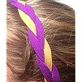 It S Ridic No Slip Grip Non-Slip Sports Athletic Nylon Triple Braided Sports Headband 2Purple | Dark Gold