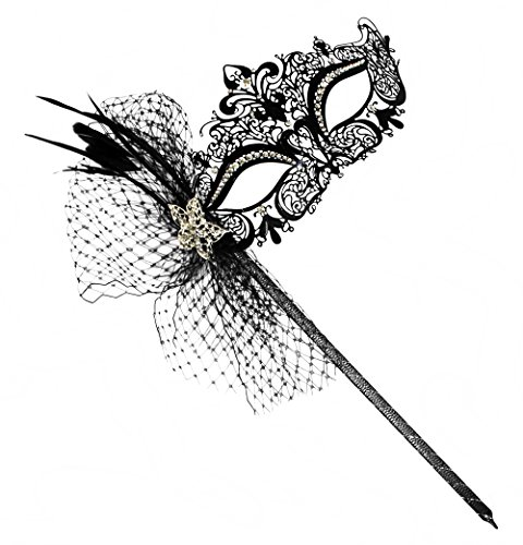 Simone Deluxe Laser-Cut Metal Black Venetian Women's Masquerade Mask on a Stick