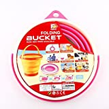 """ToyerBee Multifunctional Homeware Foldable Silicone Collapsible Bucket Retractable Pack Away Bucket Bowl Flexible Gallon Camping Supply- Rose Red 10.8""""x 6.6""""x 9.2"""""""