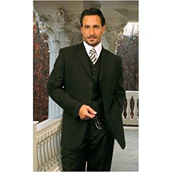 MENS NICE 3PC 3 BUTTON SOLID COLOR MENS SUIT WITH A VEST BY: TESSORI