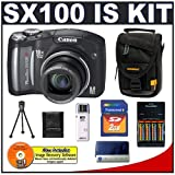 Canon PowerShot SX100IS 8MP Digital Camera with 10x Optical Image Stabilized Zoom (Black) + Transcend 2GB SecureDigital Memory Card + USB Card Reader + NiMH Rapid Charger & High-Capacity Rechargeable Batteries + Padded Camera Case