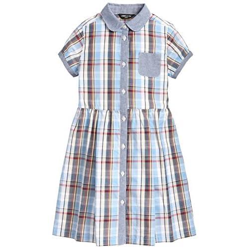 (コムサイズム)comme ca ism(コムサイズム) ダンガリー使いのチェックシャツドレス 98-35OM13 22 ブルー 120cm