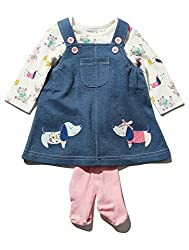M&Co Baby Girl Denim Sausage Dog Applique Pinny Dress Long Sleeve Top And Pink Tights Outfit Set from M&Co