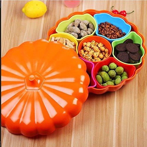 YWANM Couleur tuile extra-large combinaison de sept bonbons citrouille avec bol couvercle mariage . Orange
