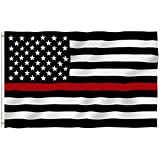 ANLEY® [Fly Breeze] 3x5 Foot Thin Red Line USA Polyester Flag - Vivid Color and UV Fade Resistant - Canvas Header and 4 Rows Stitched - Honoring Firefighter Flags with Brass Grommets
