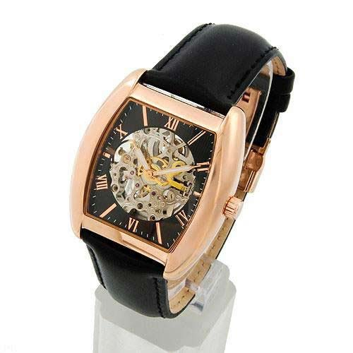 Auguste Galan MECCANIX Mens Rose Gold Mechanical Skeleton Watch with Black Strap. Model AG-4601