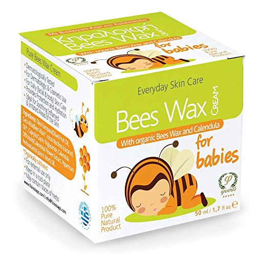 Baby Moisturizing Beeswax Cream made with Organic Beeswax, Extra Virgin Olive Oil, Herb Extracts & Calendula (50ml / 1.7 Fl Oz).