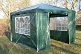 Airwave 3m x 3m Gazebo Party Tent Marquee Awning GREEN with Side Panels. 120g WATERPROOF Canopy and Powder Coated Steel Frame.