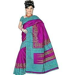 Pawan Tex Synthetic Bhagalpuri Saree (saree92_Green Pink)