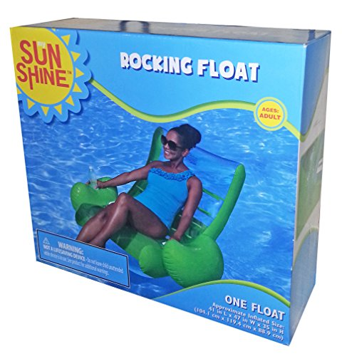 Sunshine Lime Green Rocking Float Lounger With Cup Holder front-430006