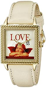"""The P.S. Collection by Arjang and Co. Women's PS-2004G-BE """"Love Cupid"""" Gold Colored Stainless Steel Square Mother Of Pearl Dial Leather Strap Watch"""