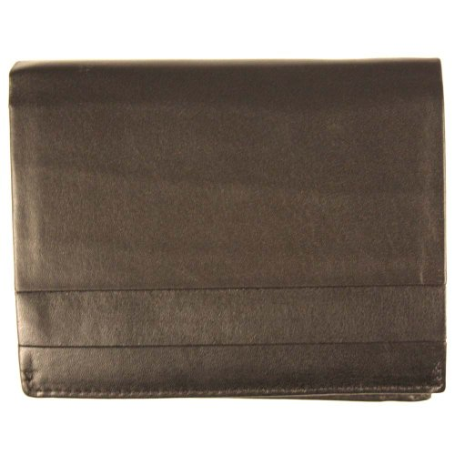 Elegant black billfold mens leather wallet with 7cc slots and cash clip