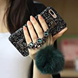 iPhone 7 Plus Case, iPhone 8 Plus Case, BabeMall Luxury Stylish DIY Handmade Bling Diamond Rhinestone Fur Plush Ball Strap Chain Case (Dark green)
