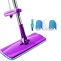 Angle-Tech Professional Microfiber Mop Stainless Steel Handle Pad FREE Hand Wash 360 Rotate Mop (purple)