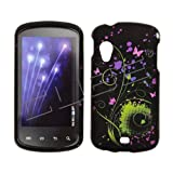 Samsung i405/Stratosphere Rubberized Snap on Design Case Hard Case Skin Cover Faceplate  Transparent Blue, Pink and Green Swirl Flower Design with Butterflies on Black