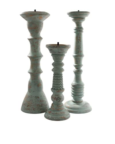 Foreign Affairs Set of 3 Antique Blue Candle Holders