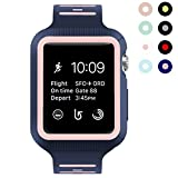 BRG for Apple Watch Band with Case, Shock-proof and Shatter-resistant Protective Case with Silicone Sport iWatch Band for Apple Watch Series 3/2/1 Nike+ Sport Edition 38mm (Midnight Blue/Vintage Rose)