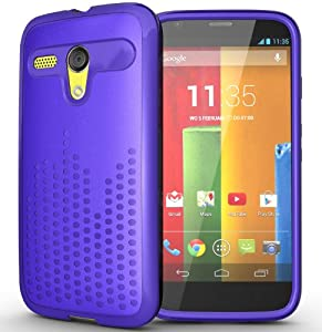 TUDIA Ultra Slim Melody TPU Bumper Protective Case for Motorola Moto G SmartPhone (2013 1st Gen Only) (Purple)