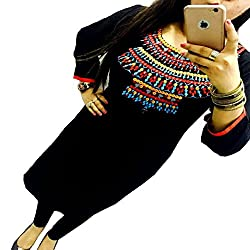 Kesu Fahion Women's Embroidered semi-stitched Selfie Kurti In Georgette Fabric (KUKRT1013_Free Size_Black)
