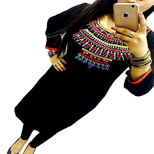 Kesu-Fahion-Womens-Embroidered-semi-stitched-Selfie-Kurti-In-Georgette-Fabric-KUKRT1013Free-SizeBlack