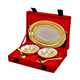 Odna Bichona Silver And Gold Plated Brass Bowl And Tray Set Of 5 Pcs (26.67X7.62X19.05, Silver And Golden)