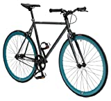 Retrospec Beta Series Single Speed Fixed Gear Bicycle with Flip Flop Hub, Matte Gunmetal Gray/Aqua Wheels, 60cm/Large