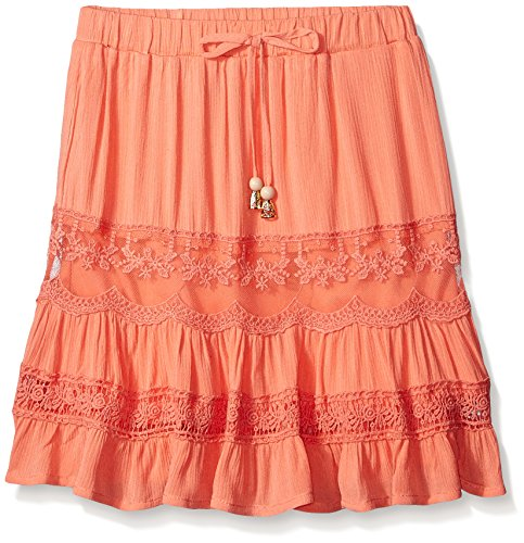 My Michelle Big Girls Midi Tiered Skirt with Elastic Waistband And Drawstring, Coral, Medium