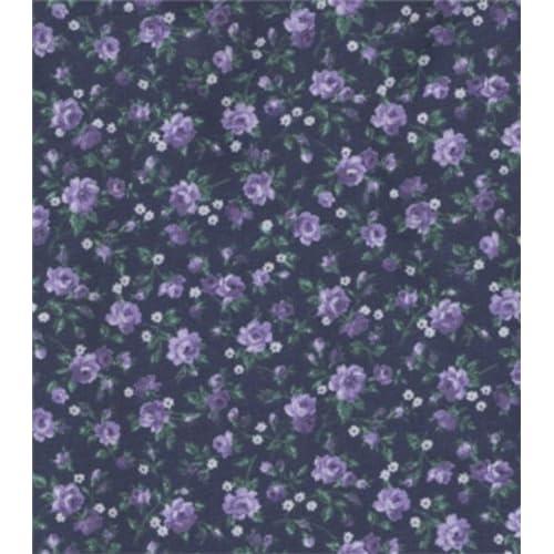 Amazon.com: Calico Fabric-Navy Lavendar Roses