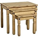 Corona Distressed Mexican Waxed Solid Pine Rustic 3 Nest of Tables
