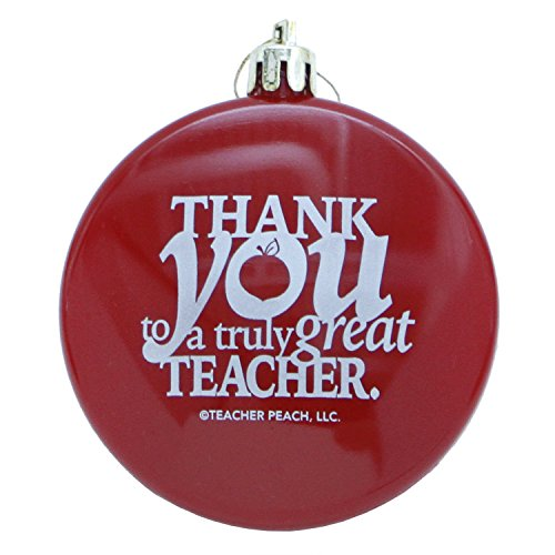 Teacher Appreciation Christmas Ornaments | Teacher Peach Thank You Shatterproof Ornament Gift | Red
